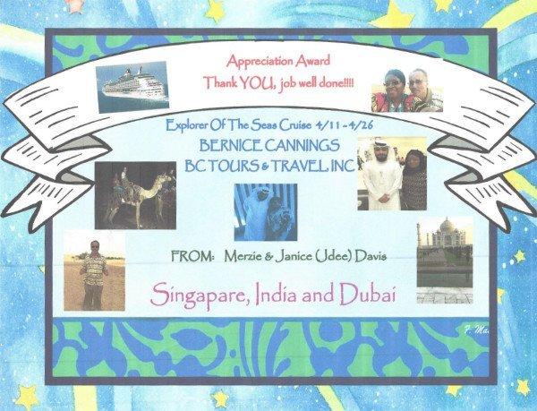 Appreciation Award - Explorer Of The Seven Seas Cruise